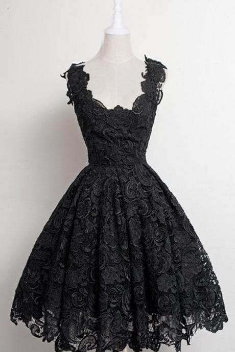 Black Homecoming Dresses Lace Homecoming Dresses Sleeveless Homecoming Dresses A Line Prom Dresses