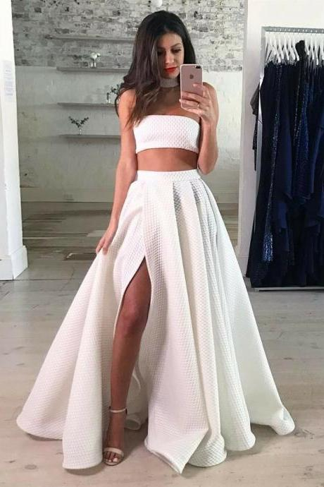 Party Dresses White, Prom Dress Lace, Two Pieces Party Dresses, Long Prom Dress BOHO42915