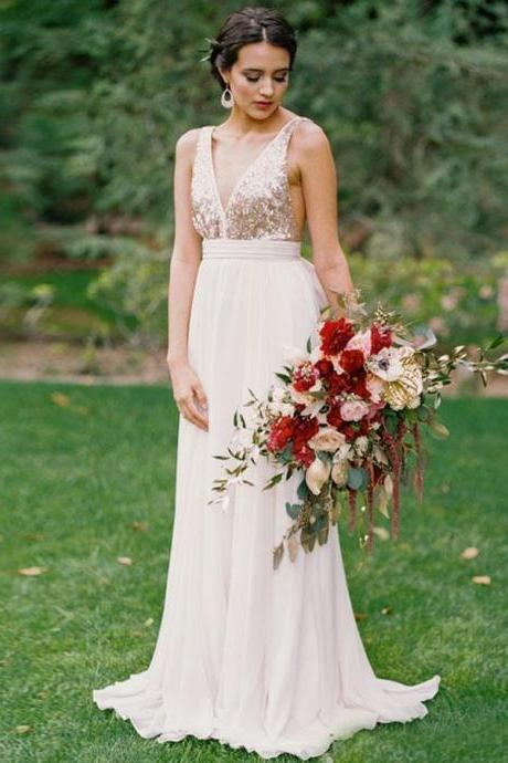 Party Dresses A-Line, Bridesmaid Dress Backless, White Bridesmaid Dress, V Neck Bridesmaid Dress BOHO42990