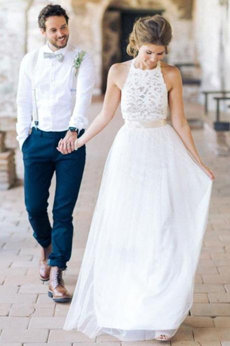 Wedding Dress Simple, Party Dresses Long, Sleeveless Party Dresses, Lace Party Dresses BOHO429135
