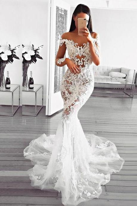 Appliques Party Dress, Wedding Dress Mermaid, White Wedding Dress, Long Sleeves Party Dress BOHO429157
