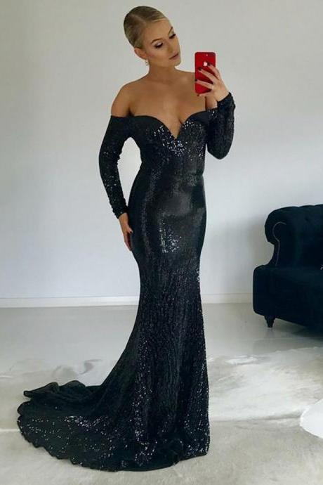 2018 Prom Dress, Black Evening Dress, Mermaid Prom Dress, Long Sleeves Evening Dress BOHO429170