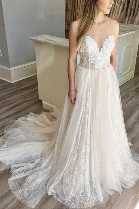 Appliques Party Dresses, A-Line Wedding Dress, Champagne Wedding Dress BOHO429293