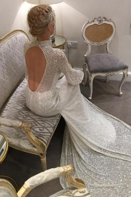 Open Back Party Dresses, Mermaid Wedding Dress, High Neck Party Dresses, Ivory Party Dresses BOHO429309