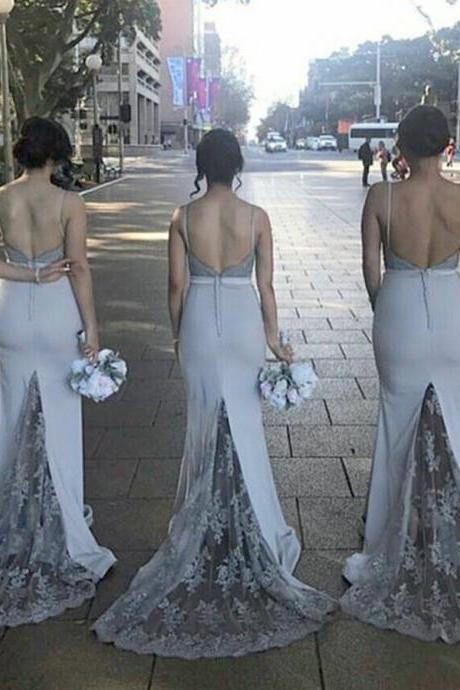 Party Dress Mermaid, Grey Bridesmaid Dress, Appliques Bridesmaid Dress, Backless Bridesmaid Dress BOHO429377