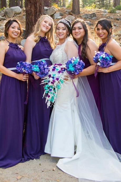 Party Dresses Purple, Party Dresses Backless, A-Line Bridesmaid Dresses BOHO429403