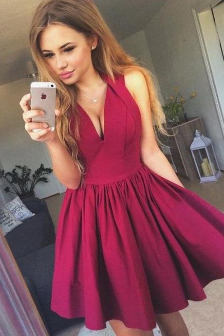 Party Dress A-Line, V Neck Party Dress, Burgundy Homecoming Dresses BOHO429534