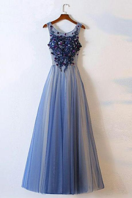 Long Prom Dresses, Prom Dresses With Appliques, Prom Dresses A-Line, Blue Prom Dresses BOHO429581