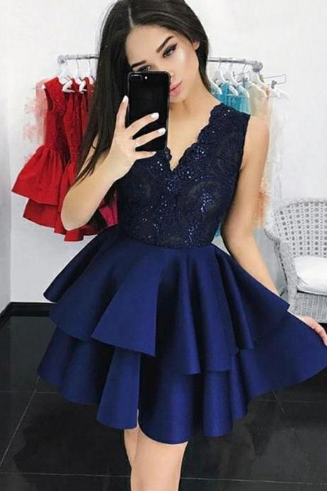 Homecoming Dress Blue, Navy Blue Homecoming Dress, Party Dress A-Line, Lace Homecoming Dress BOHO429719