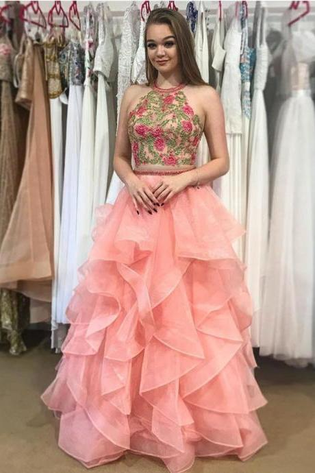 Prom Dresses 2018, Appliques Prom Dresses, Two Pieces Prom Dresses, Open Back Prom Dresses BOHO429816