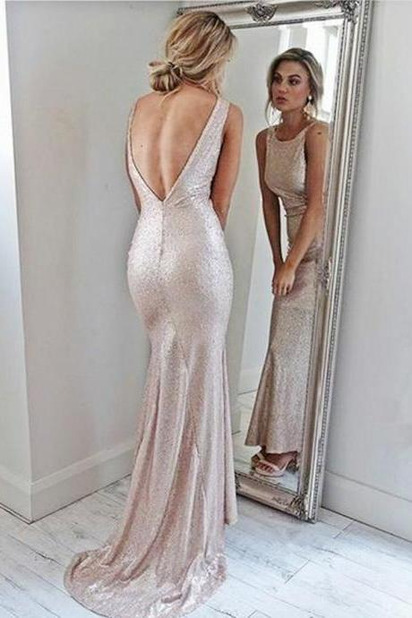 Prom Dresses Mermaid, Backless Prom Dresses, Prom Dresses 2018, Prom Dresses Pink BOHO429928