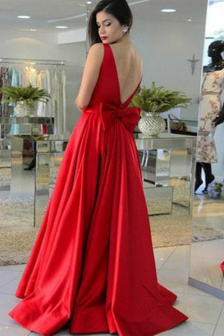Prom Dress Red, Prom Dress 2018, Prom Dress Backless, A-Line Prom Dress BOHO4291068