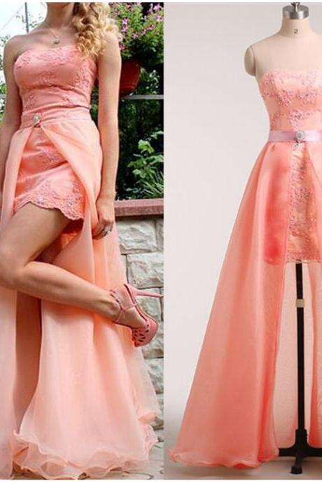 Long Lace Homecoming Dress,High Low Homecoming Dresses,Sexy Coral Prom Dress,Simple Chiffon Evening Dresses For Teens