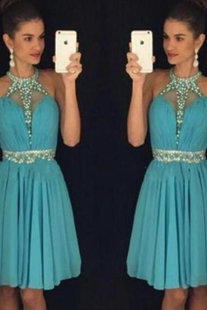 Blue Homecoming Dress,Homecoming Gowns,Backless Party Dress,Short Prom Gown,Beading Homecoming Gowns
