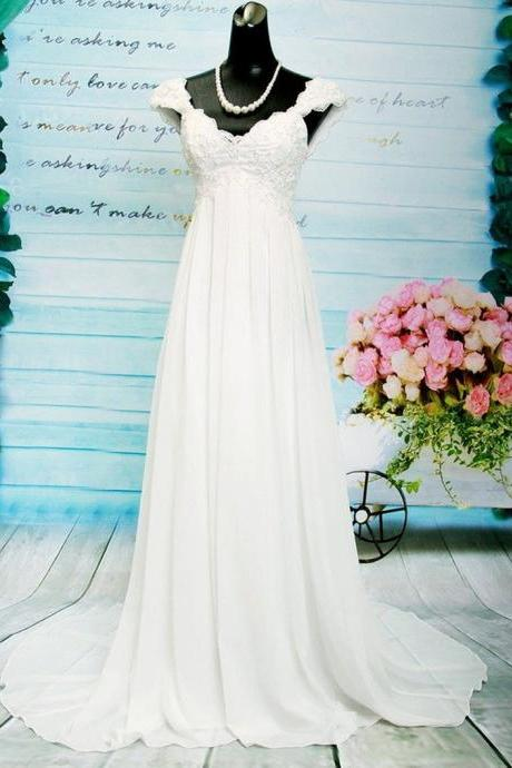 Cap Sleeves Wedding Dress,A-line V-neck Bridal Dress,Chiffon Cap Embroidery Lace Pearls Backless Criss-Cross Straps Wedding Dresses