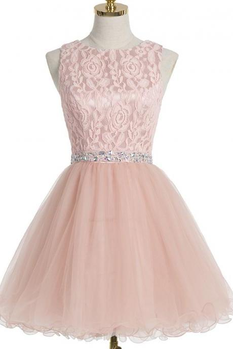 Homecoming Dress With Crystal Lace,A-line Scoop Homecoming Gown,Short Champagne Organza Homecoming Dresses