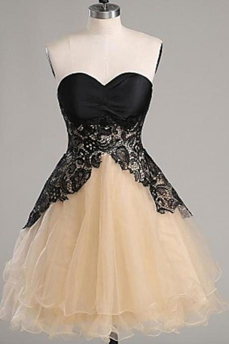 Organza Homecoming Gowns,Lace Homecoming Dresses,A-line Sweetheart Homecoming Gowns,Short Homecoming Dress