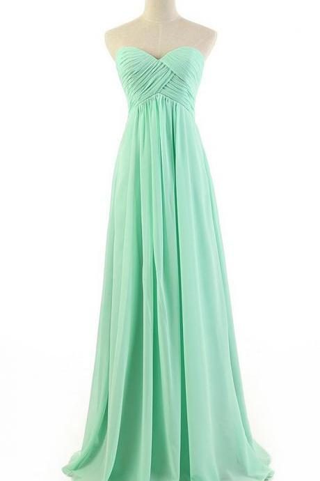 Sweetheart Prom Dresses,Floor Length Evening Gowns,Simple Sheath Mint Prom/Evening Dress With Ruffles
