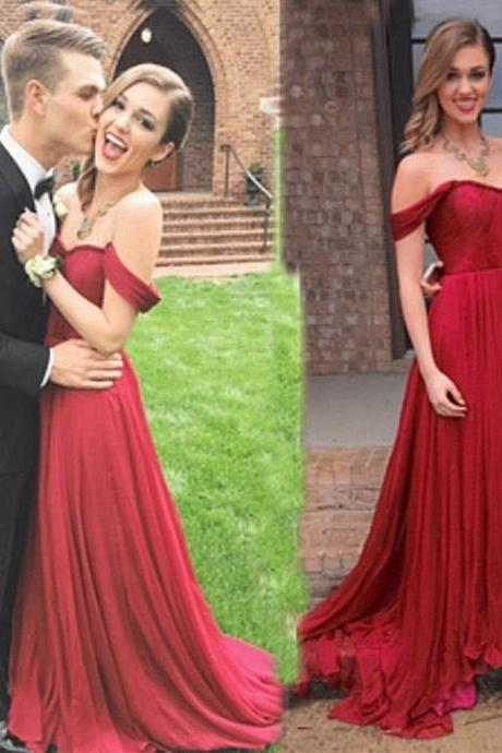 Off-the-shoulder Prom Dress,Elegant A-Line Prom Gown,Floor Length Evening Gowns,Chiffon Prom/Evening Dress with Ruched