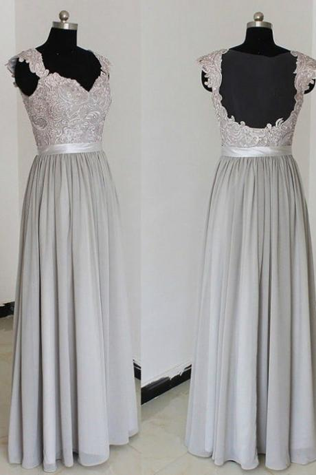 Elegant A-Line Prom Gown,V-Neck Party Dress,Floor Length Prom Dresses,Grey Bridesmaid Dress with Appliques