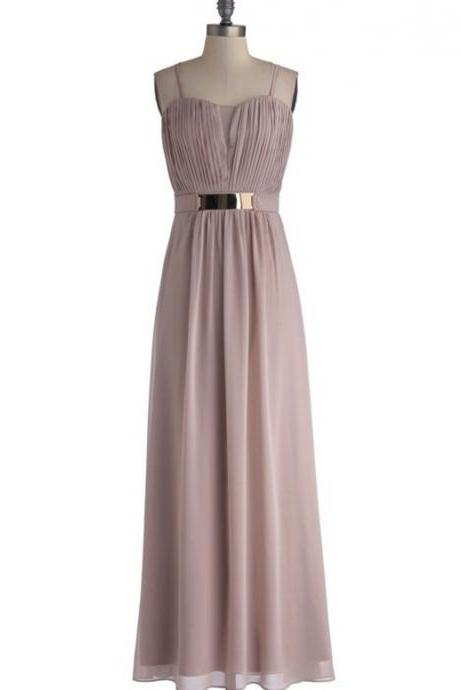 Floor-length A-line Chiffon Bridesmaid Dress with Gold Belt