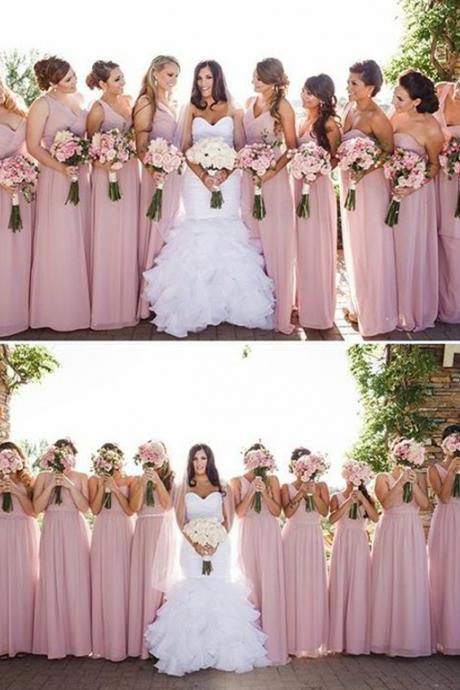One Shoulder Bridesmaid Dress,Simple A-Line Bridesmaid Dress,Floor Length Prom Dress,Pink Bridesmaid Dress with Ruffles
