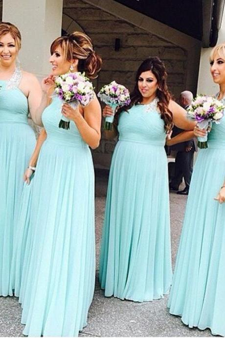 Halter Bridesmaid Dresses,Sexy Prom Dress,A-Line Floor Length Bridesmaid Dress,Mint Prom Dress with Beading