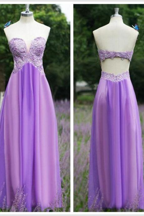 Elegant Sheath Bridesmaid Dresses,Sweetheart Prom Dress,Floor Length Bridesmaid Dress,Purple Bridesmaid Dress with Appliques,Chiffon Backless Party Dress