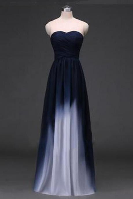 Navy Blue Prom Gown,Elegant A-Line Party Dress,Sweetheart Prom Dress,Floor Length Prom Dress with Ruffles