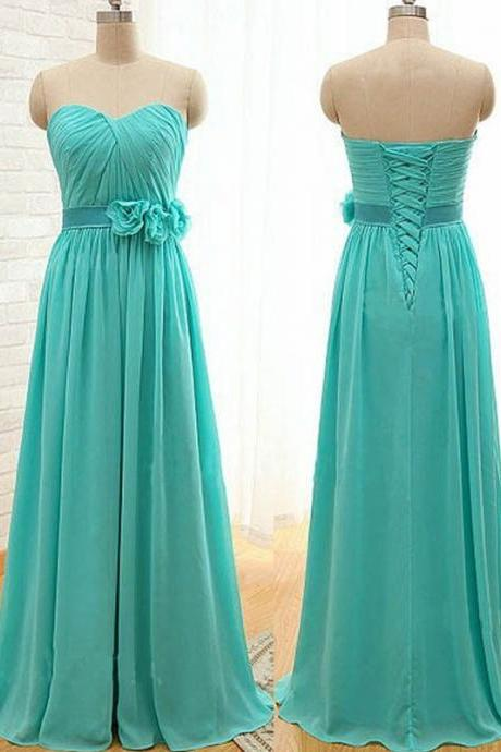 Sweetheart Bridesmaid Dress,Classic A-Line Bridesmaid Dresses,Floor Length Bridesmaid Dress,Green Bridesmaid Dress with Flower,Prom Dress