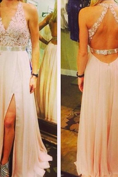 V-Neck Prom Dress,Light Pink Prom Dresses,Chiffon Backless Prom Dress,A Line Long Prom Gown With Lace Appliqued,Elegant Prom Dresses,Sexy Party Dress