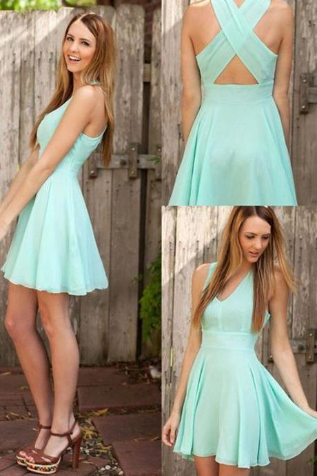 A-line Homecoming Dresses,V-neck Homecoming Gown,Short Mint Criss-Cross Straps Prom Dress,Chiffon Homecoming Dress With Pleats