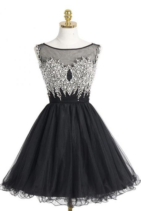 Black Homecoming Dresses,Poofy Dresses Short,A-line Prom Dresses,Short Evening Dresses,Organza Homecoming Dress With Beading Pearls Sequins