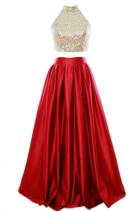 Two piece Homecoming Dresses,High Neck Prom Dress,Beading Homecoming Dresses,Long Red Satin Open Back Homecoming Dress
