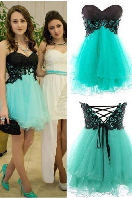 Simple Homecoming Gown,A-Line Sweetheart Homecoming Dresses,Mini Blue Prom/Homecoming Dress with Appliques