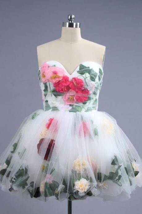 Ball Gown Homecoming Dresses,Poofy Dress Short,Sweetheart Mini White Tulle Homecoming Dress With Flower Pleats