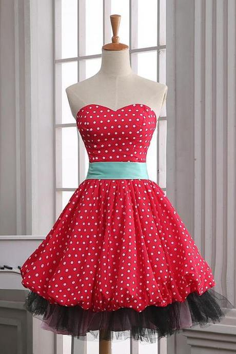 Vintage A-line Sweetheart Polka Dots Dress - Party dress, Costume dress
