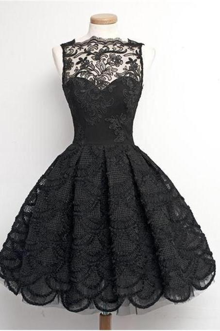 Black Lace Homecoming Dresses,Vintage Homecoming Gown,A-Line Bateau Knee Length Prom/Homecoming Dress with Appliques