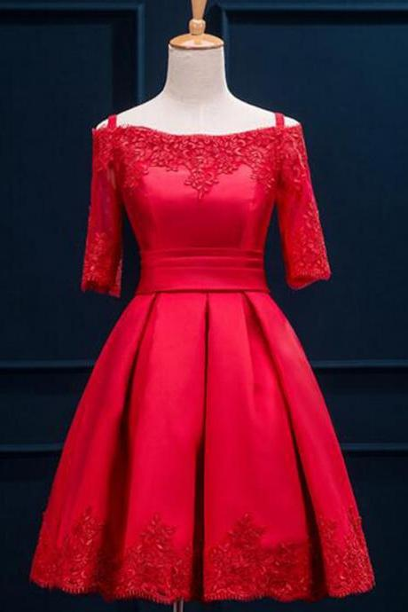 A-line Homecoming Gown,Off-the-shoulder Homecoming Dresses,Short Red Satin Homecoming Dress With Appliques Pleats