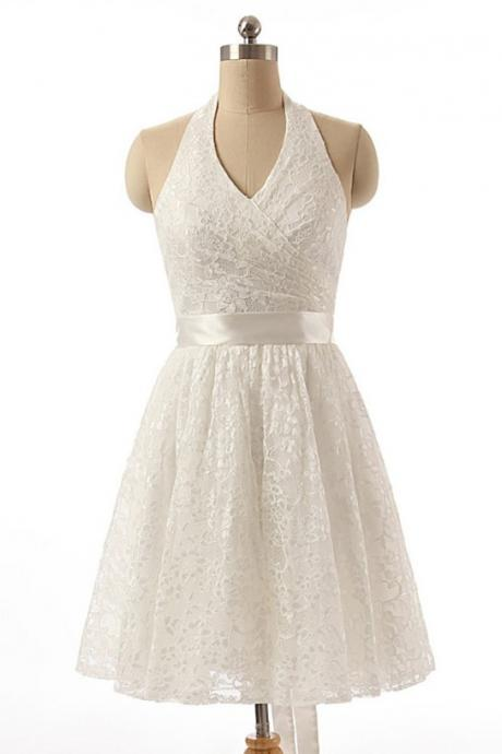 Lace A-line Homecoming Dresses,Halter Knee-length Homecoming Gown,Ivory Lace Homecoming Dress with Sashes