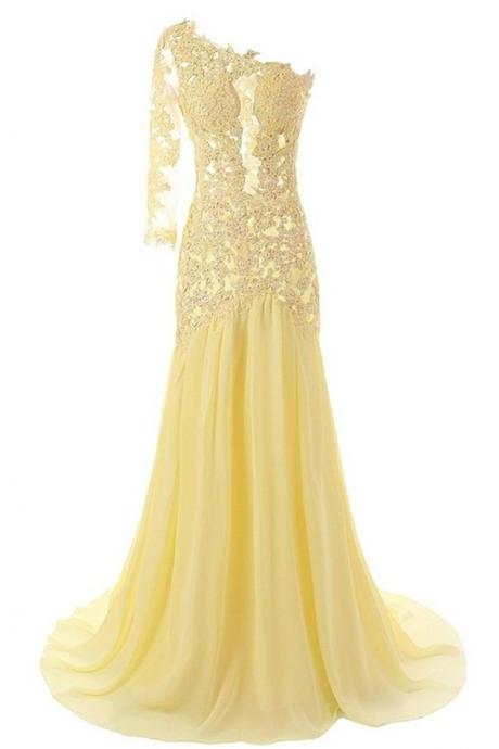 One-Shoulder Homecoming Dresses,A-line Sweep Train Homecoming Dresses,Yellow Chiffon Homecoming Dress with Lace,Long Prom Dresses