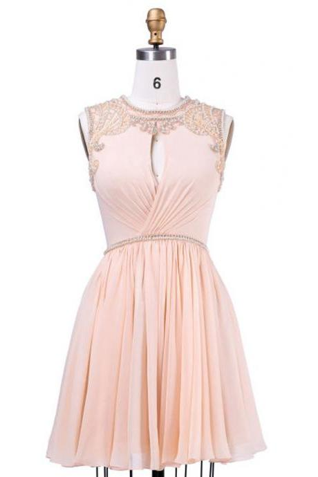 A-line Coral Homecoming Dresses,Scoop Short Homecoming Gown,Chiffon Homecoming Dress With Beaing Pleats