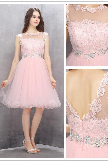 A-line Scoop Homecoming Dresses,Knee-length Pink Homecoming Dress,Homecoming Dress with Appliques Beading,130140000637