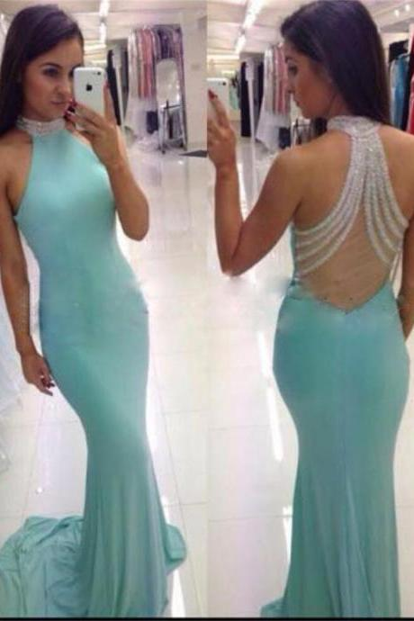 High Neck Prom Dress, Mermaid Prom Dress, Blue Party Dress, Sexy Prom Dress, Custom Prom Dresses, Evening dresses, Prom Dresses, Long Prom Dresses,PD0030