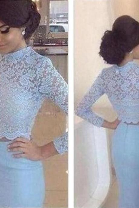 Long Sleeves Prom Dresses, Two Pieces Prom Dresses, Blue Long Prom Dresses, High Neck Prom Dresses, Party Prom Dresses, Evening Prom Dresses, Prom Dresses Online, PD0074