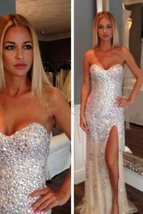 Sexy Sweetheart Rhinestone Prom Dresses, Side Slit Mermaid Prom Dresses