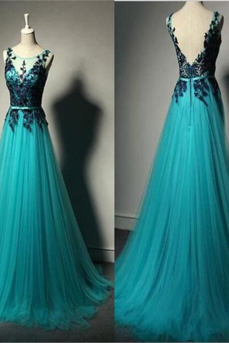 Long A-line Tulle Lace Prom Dresses, Unique Formal Evening Dresses, Cheap Prom Dress