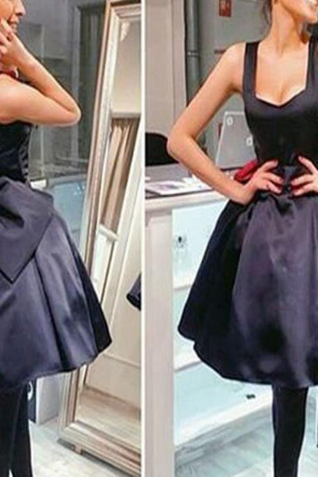 Black satin simple lovely homecoming prom dresses, Little black dresses, SF0042