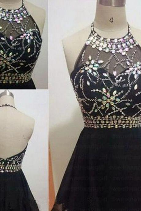 Cute Black Chiffon Rhinestone Sexy Backless Homecoming Dresses, SF0046