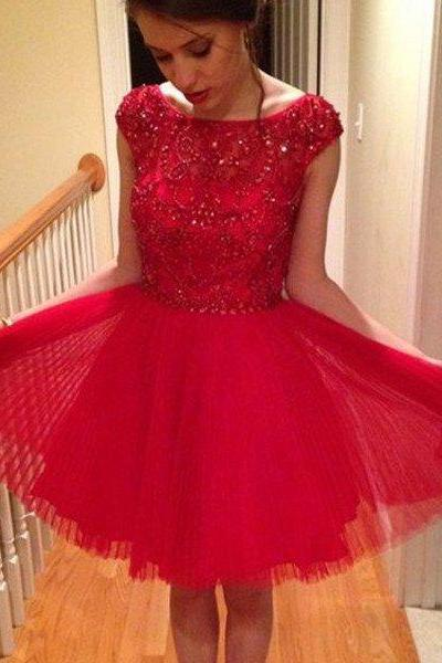 Scoop Red Tulle Sparkle Beaded Homecoming Prom Dresses, SF0034